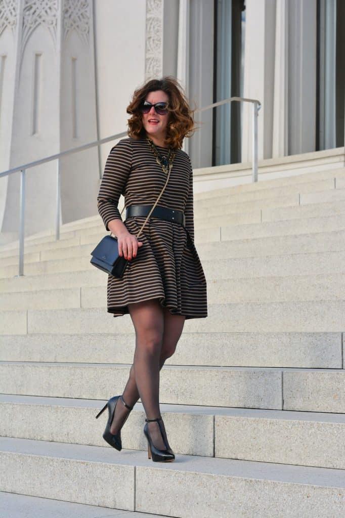 Stripe Dress, Hanes, Hanes Hosiery, Nine West T-Strap Heels, Chicago blogger