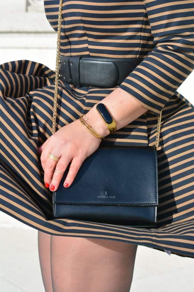Stripe Dress, Hanes, Hanes Hosiery, Nine West T-Strap Heels, Chicago blogger, Simply Wood Ring, Mira Fitness Tracker