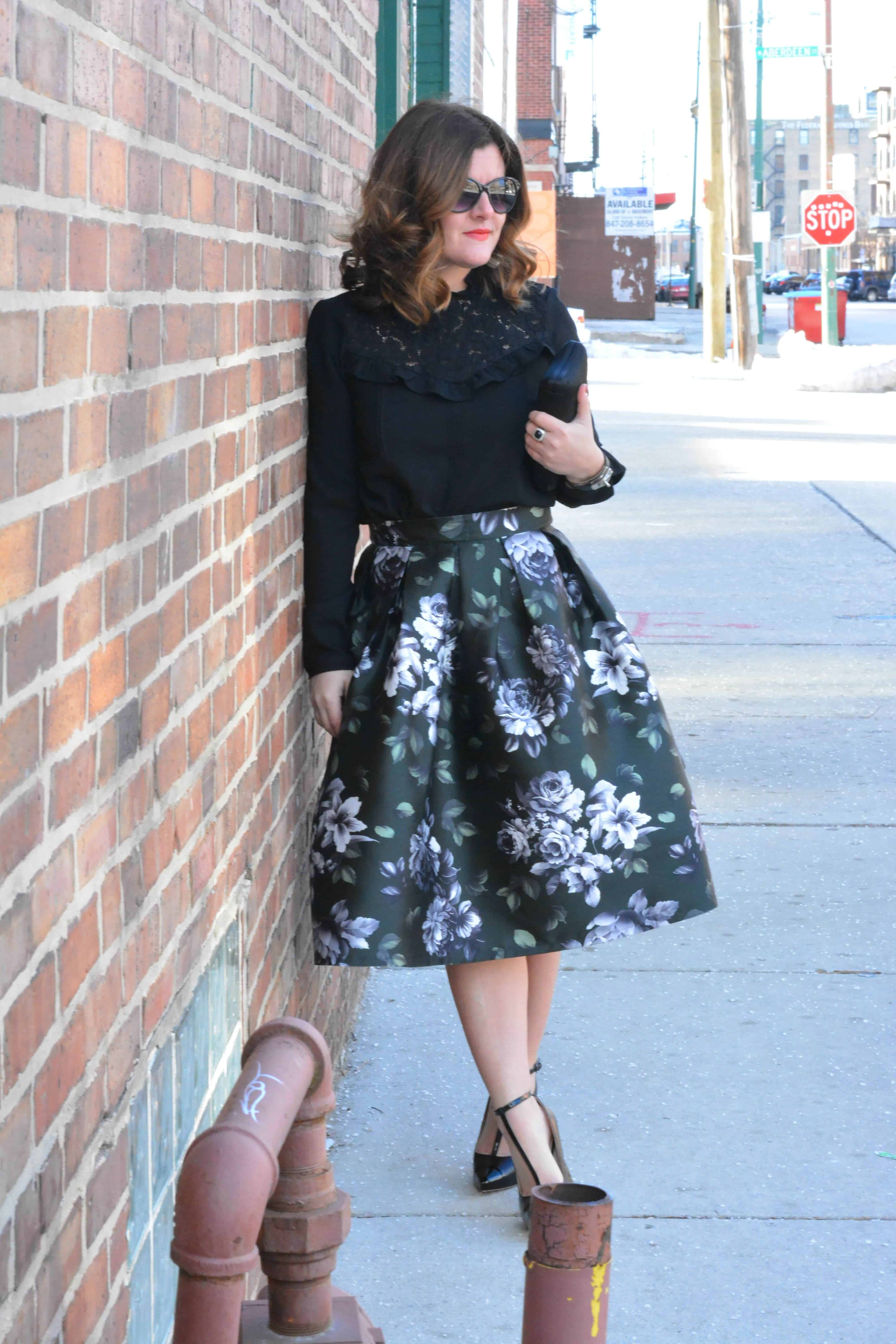 facaddb2c6 Real Talk: Status of 2016 Goals. Floral Skirt, Chicwish, Midi Skirt, Lace  Top, Zara