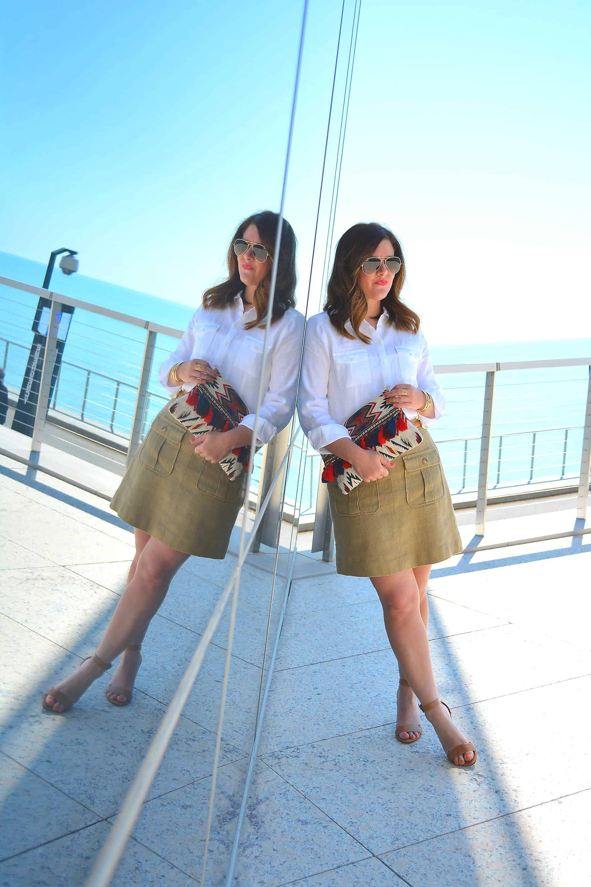 Office Style, J.Jill White linen button down top, Sole Society Clutch, Chicago Fashion Blogger, linen outfit, linen skirt