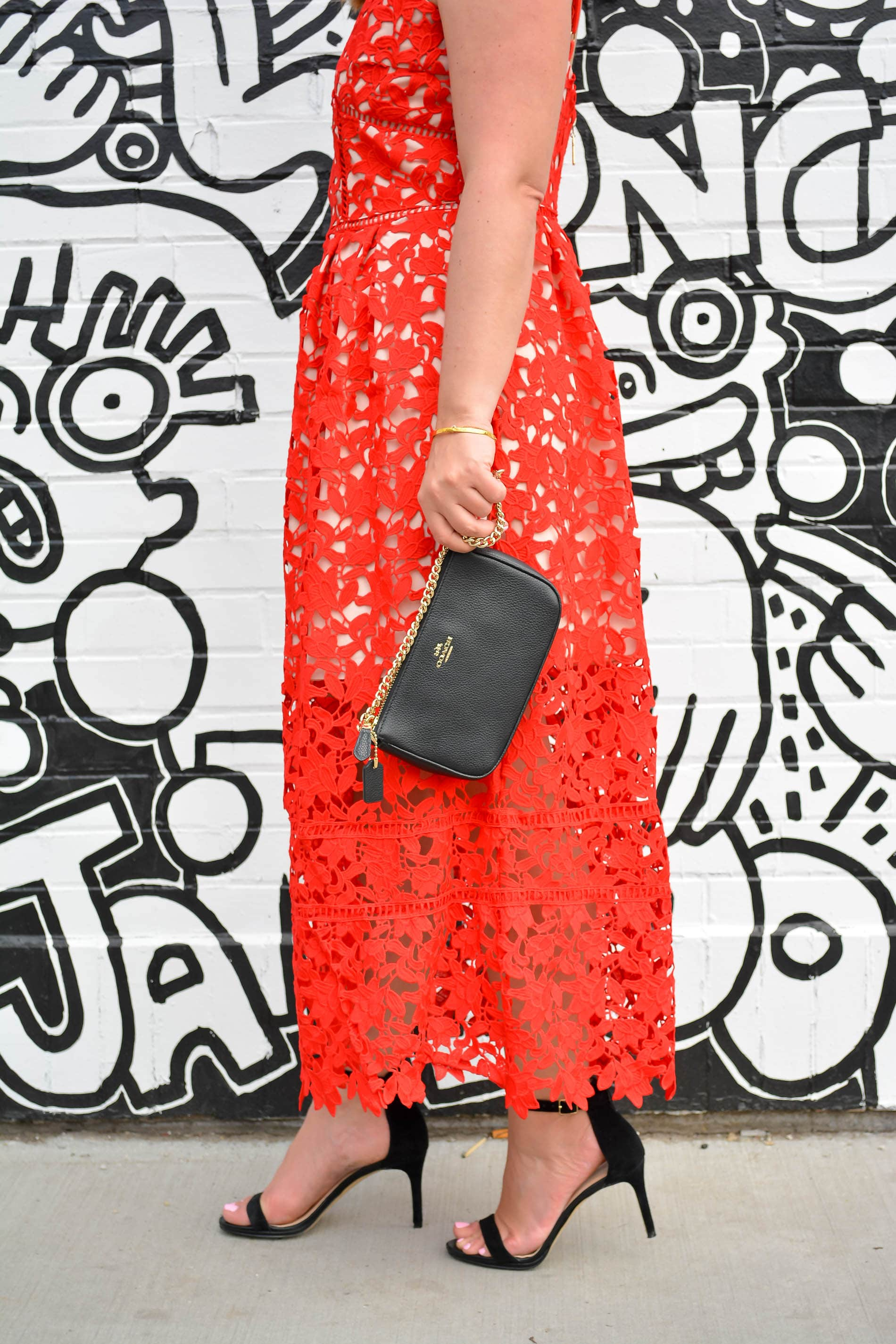Jolly Chic Red Lace Maxi Dress, Nordstrom Straw hat, Chicago Fashion Blogger, Coach Leather Clutch