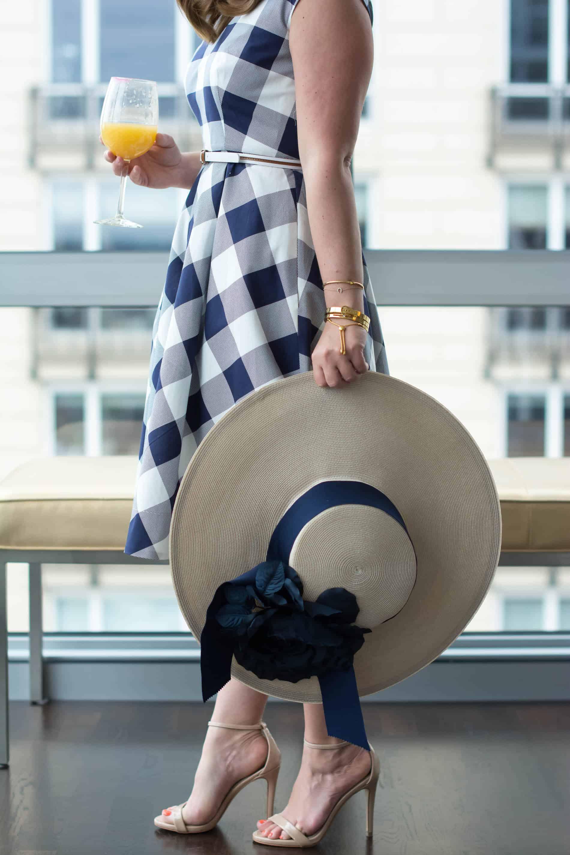 Kentucky Derby Soiree, Stella Artois Cidre, Kentucky Derby Style, THe Hat Shop New York, Gingham midi dress, Eliza J Gingham dress, Chicago Fashion Blogger