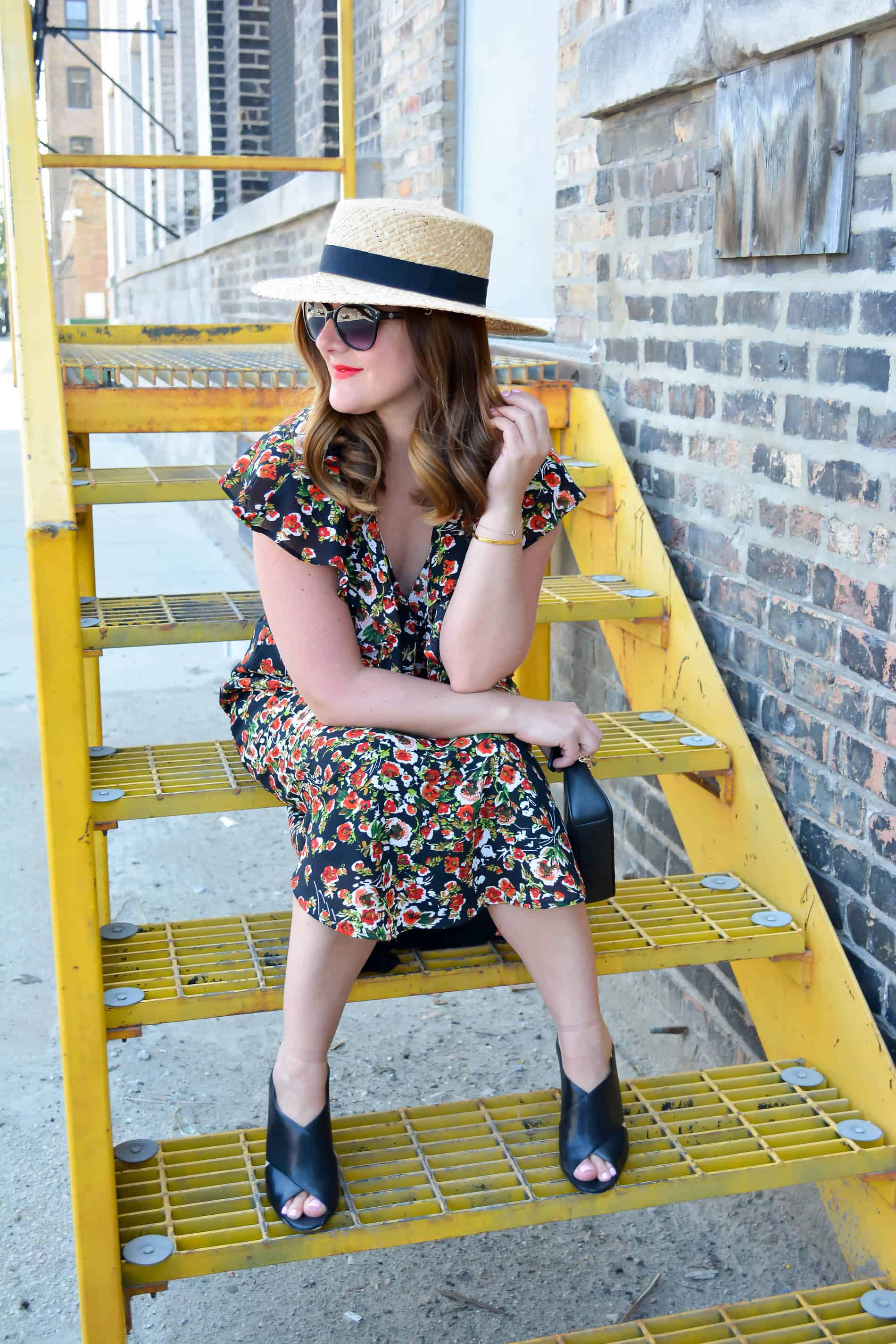 Wayf floral midi dress, floral midi dress, coach black leather clutch, nordstrom straw hat, Chicago Fashion Blogger