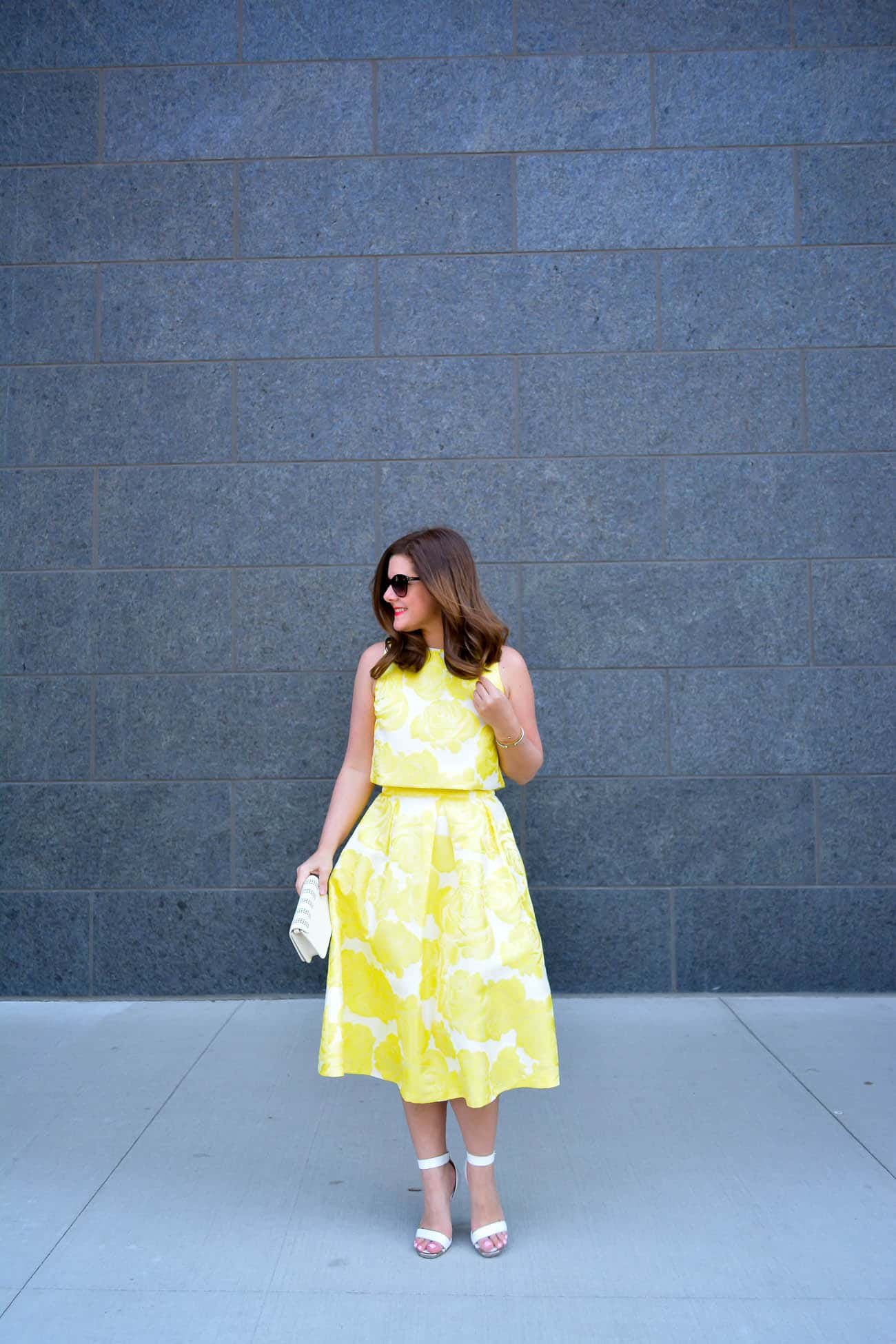 Chicwish midi skirt + crop top combo, Summer Style, Chicago Fashion Blogger, yellow floral midi skirt