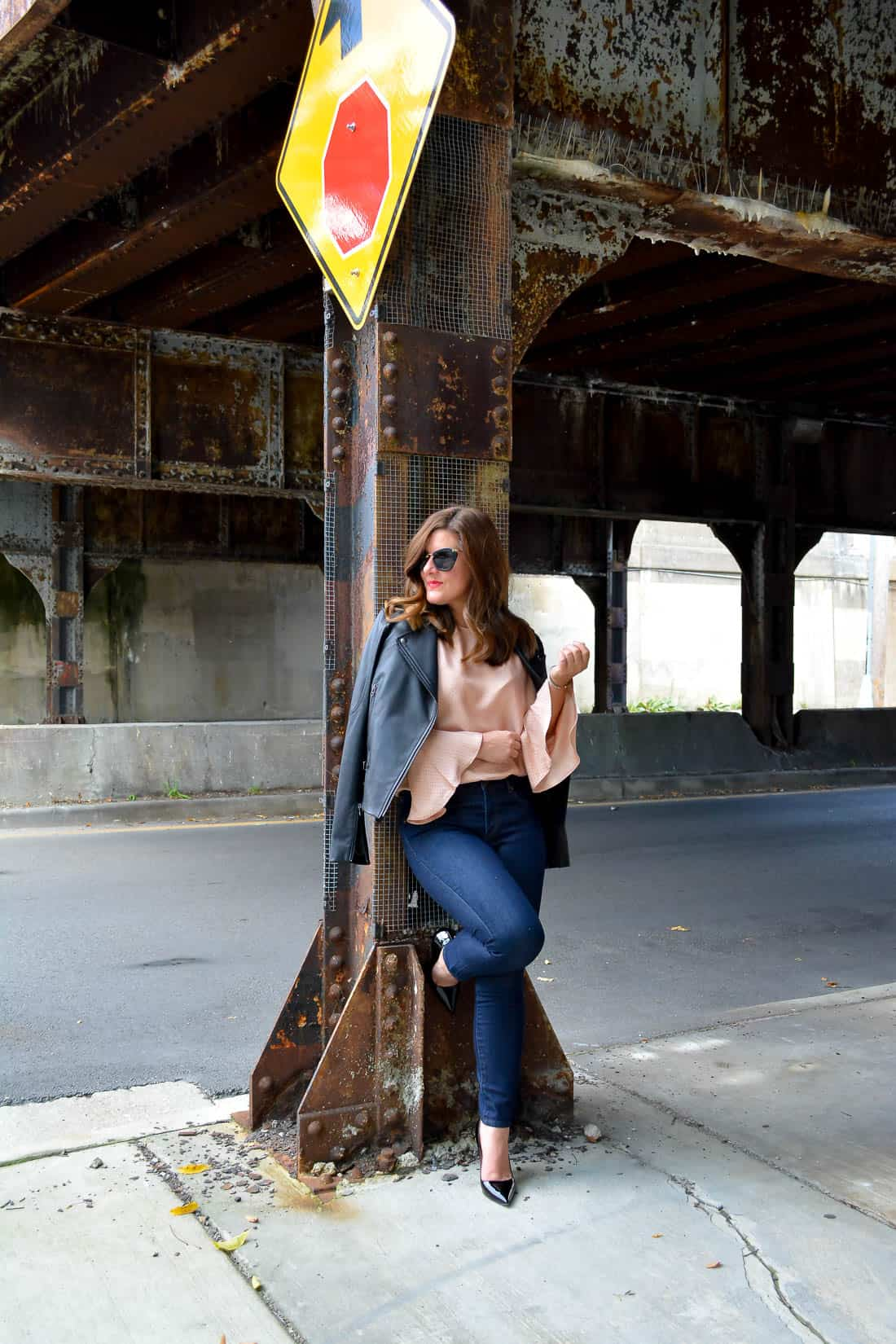 LOFT Skinny Jeans, Nordstrom black leather jacket, Ann Taylor bell sleeve top, bell sleeve top, bell sleeve blouse, Kate Spade black patent leather heels. Miu Miu sunglasses, chicago blogger