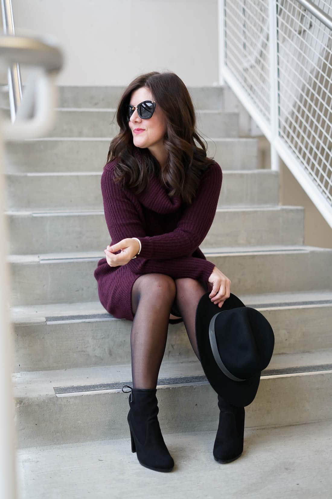 Nordstrom Anniversary Sale, Burgundy Sweater Dress, Winter style, stuart weitzman booties, miu miu sunglasses, A Lily Love Affair, chicago blogger