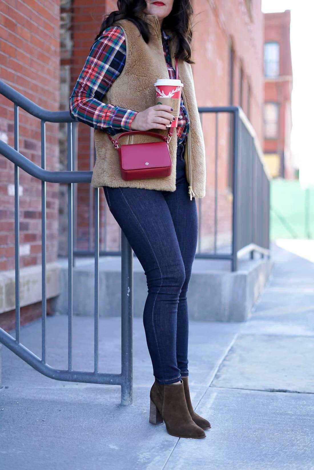 Welcome 2017, J.Crew Camel Vest, A Lily Love Affair, Banana Republic Plaid Top, Chicago Blogger, Fall Fashion, Red Tory Burch Cross Body Bag