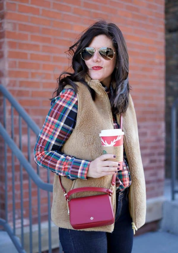 J.Crew Camel Vest, A Lily Love Affair, Banana Republic Plaid Top, Chicago Blogger, Fall Fashion, Red Tory Burch Cross Body Bag