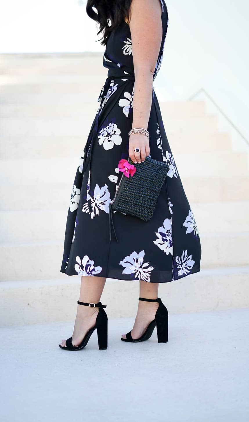 5 Spring Style Essentials, Banana Republic Floral Wrap Dress, Banana Republic Woven clutch, A Lily Love Affair, Chicago Blogger, J.Crew Fedora, Vacation Style