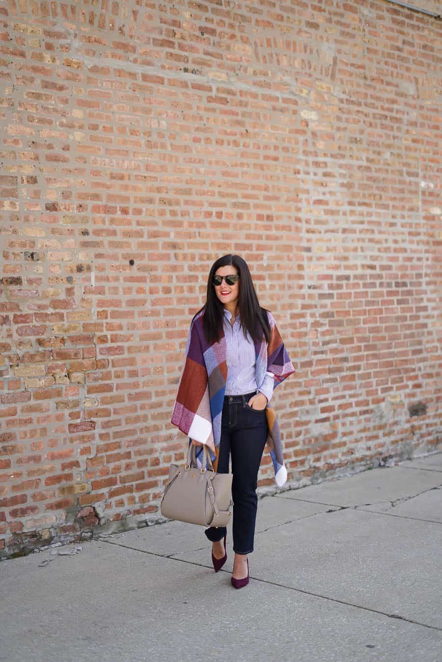 Oversized Scarf, A Lily Love Affair, Chicago Blogger, Gap Denim, Gregory Sylvia Handbags, Banana Republic Maroon Heels, Spring Style