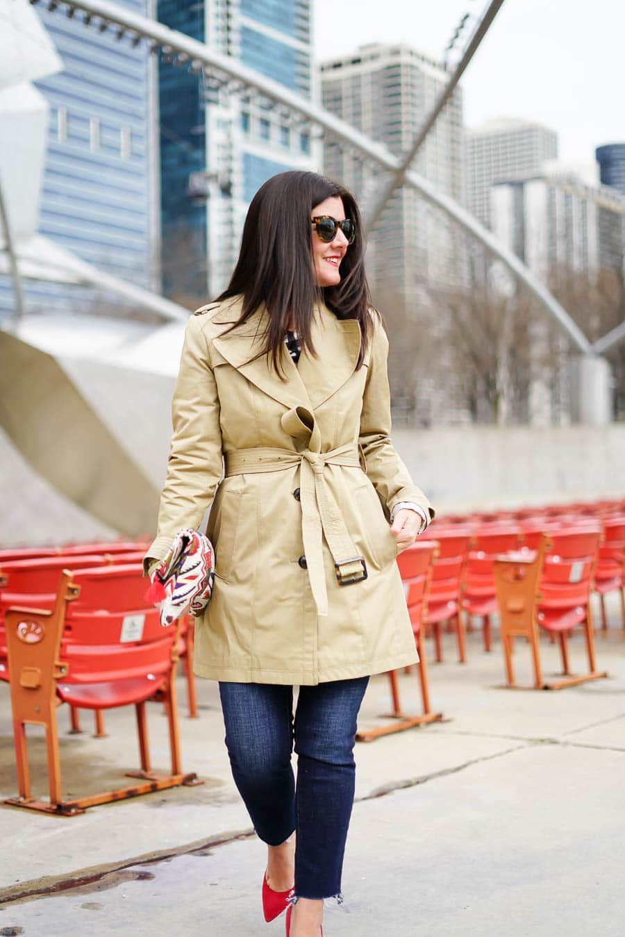 Gap denim, classic trench coat, banana republic trench coat, banana republic gingham off the shoulder top, red suede heels, a lily love affair, Chicago blogger, spring style, transitional style