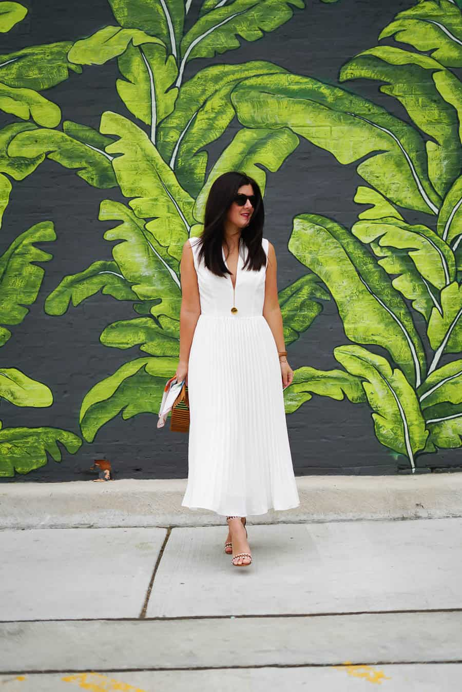 ASOS white pleated dress, Cult Gaia dark stain clutch, a lily love affair, chicago blogger, schutz sandals, Spring style
