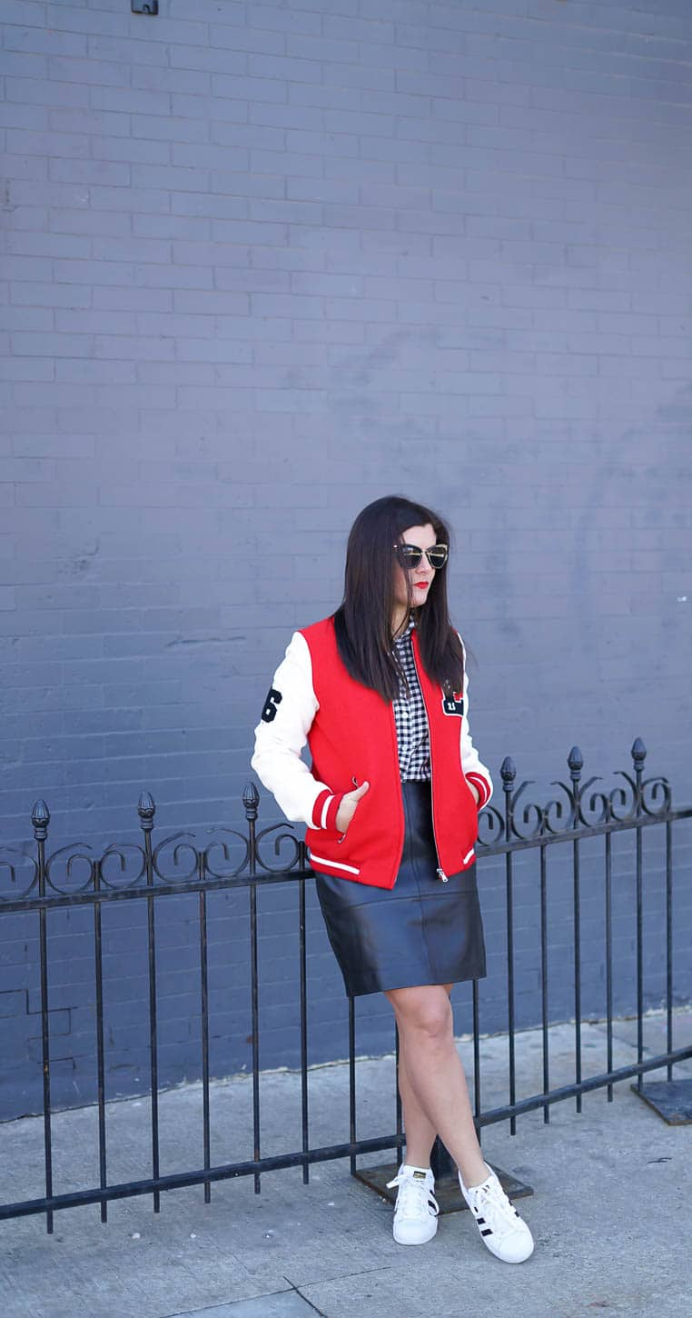Nordstrom giveaway, A Lily Love Affair, leather skirt, bomber jacket, chicago blogger, j.crew gingham button down, adidas sneakers