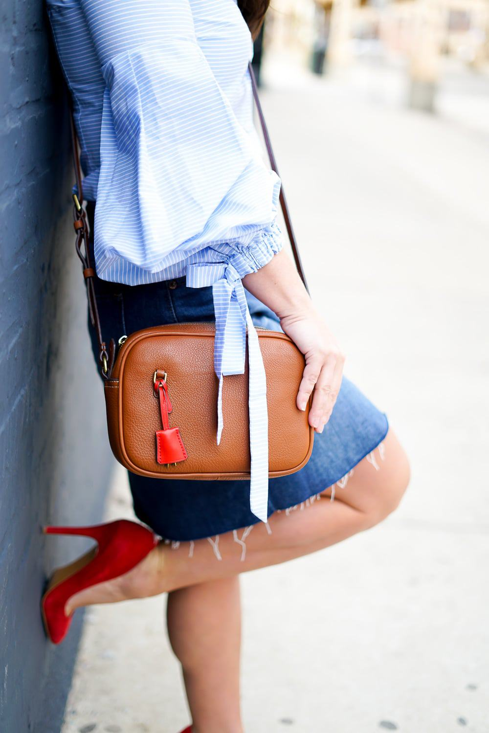 Bell Sleeve Top, A Lily Love Affair, Chicago Blogger, J.Crew Signet Bag, Red Suede Heels, J.Crew Denim Skirt