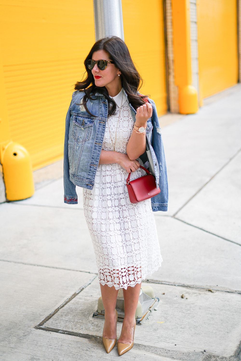 American Eagle Denim Jacket, Emboridered denim jacket, a lily love affair, chicago blogger, chicwish crochet dress, kate spade nude heels, tory burch red clutch