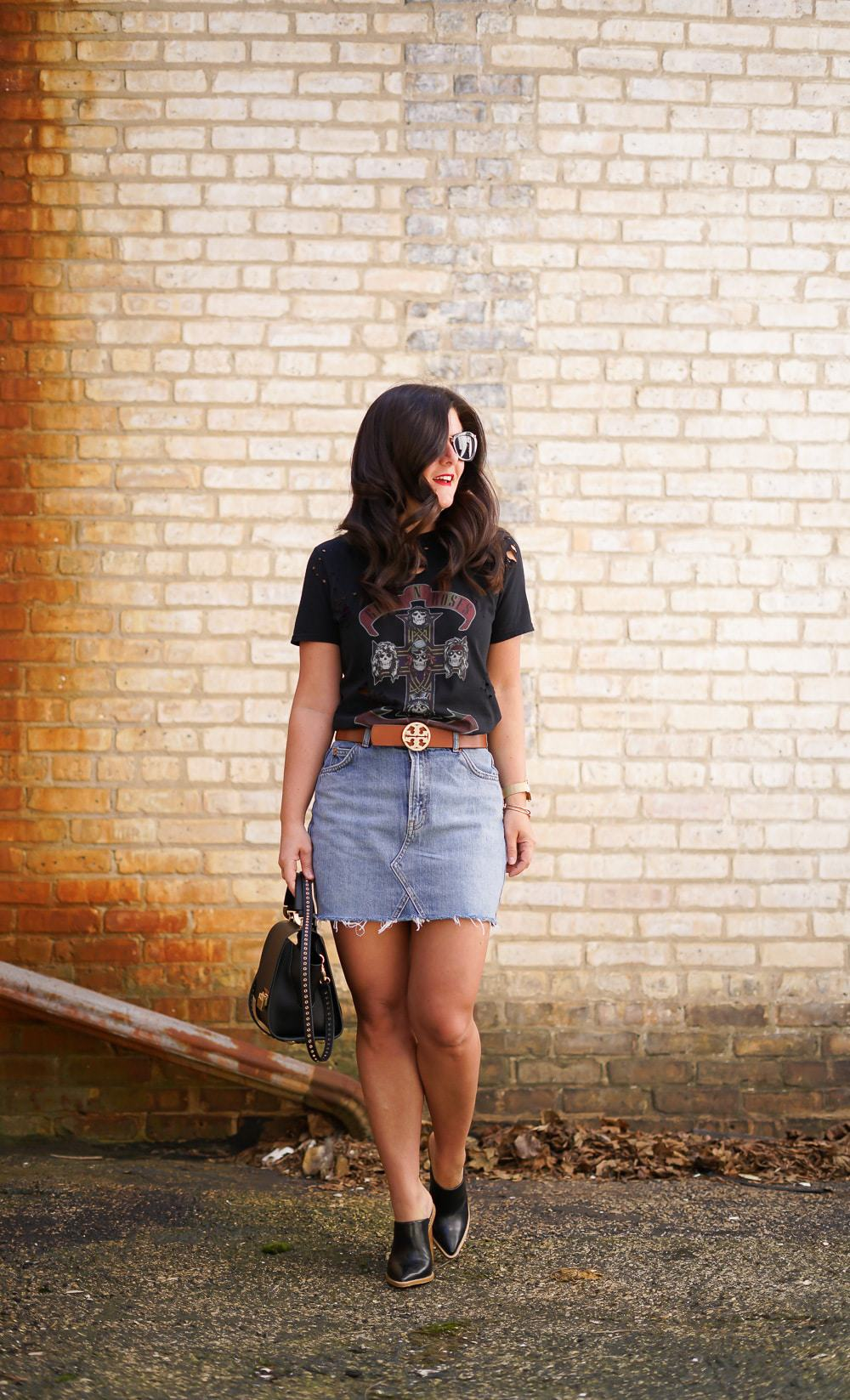 Festival Style, A Lily Love Affair, Chicago Blogger, Topshop Guns & Roses Distressed Tee, Nordstrom Denim Mini Skirt, Tory Burch Belt, Tibi Mules c/o Saks Off 5th, Zac Posen Cross Body Bag, Saks Off 5th, Miu Miu Sunglasses, Cluse Watch