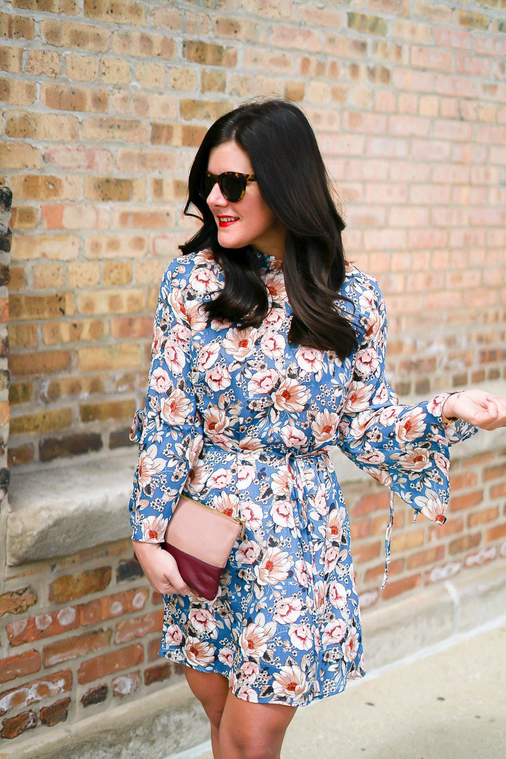 Topshop floral dress, A Lily Love Affair, Chicago Blogger, Spring Style, Floral bell sleeve dress