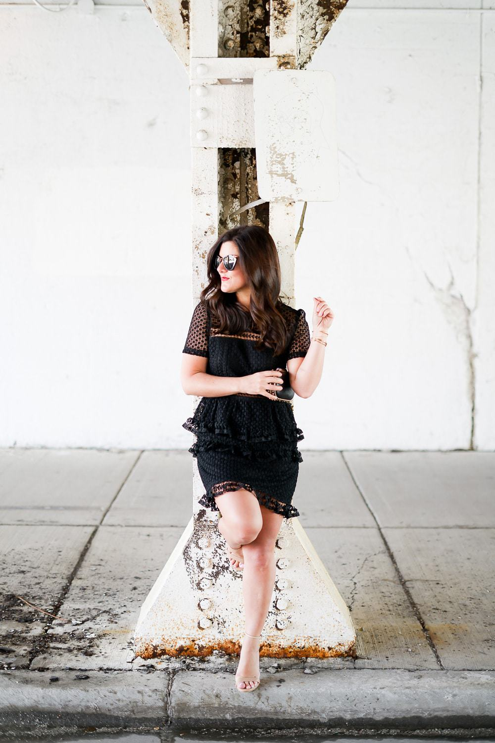 Lace ittle black dress, miu miu sunglasses, nude heels, A Lily Love Affair, Chicago Blogger, what to wear to a summer wedding