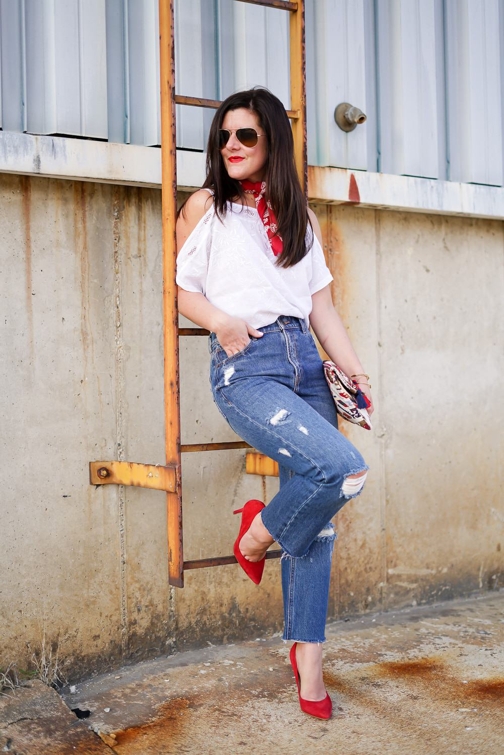 Lucky Brand bandana, Lucky Brand top, Express high waisted jeans, Red suede heels, A Lily Love Affair, Chicago Blogger, Spring Style