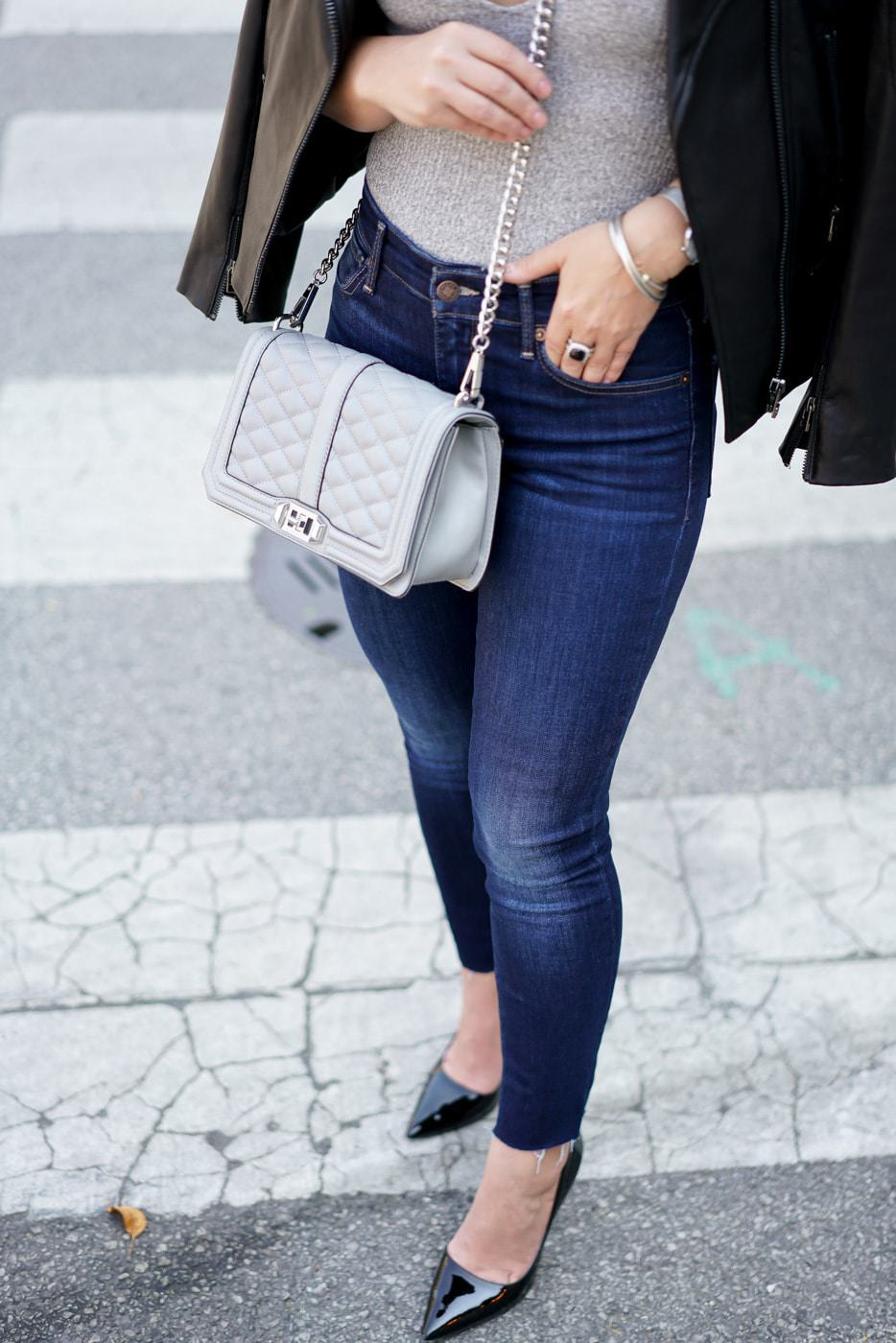 A Lily Love Affair, Chicago Blogger, Express Jeans, Rebecca Minkoff Grey Bag, Express Bodysuit, Life Update, $1000 Giveaway
