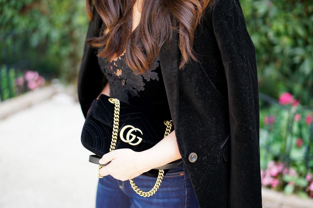 Black velvet blazer, express velvet bodysuit, Gucci Marmont bag, Express skinny jeans, A Lily Love Affair, Chicago Blogger, Mui Mui Sunglasses