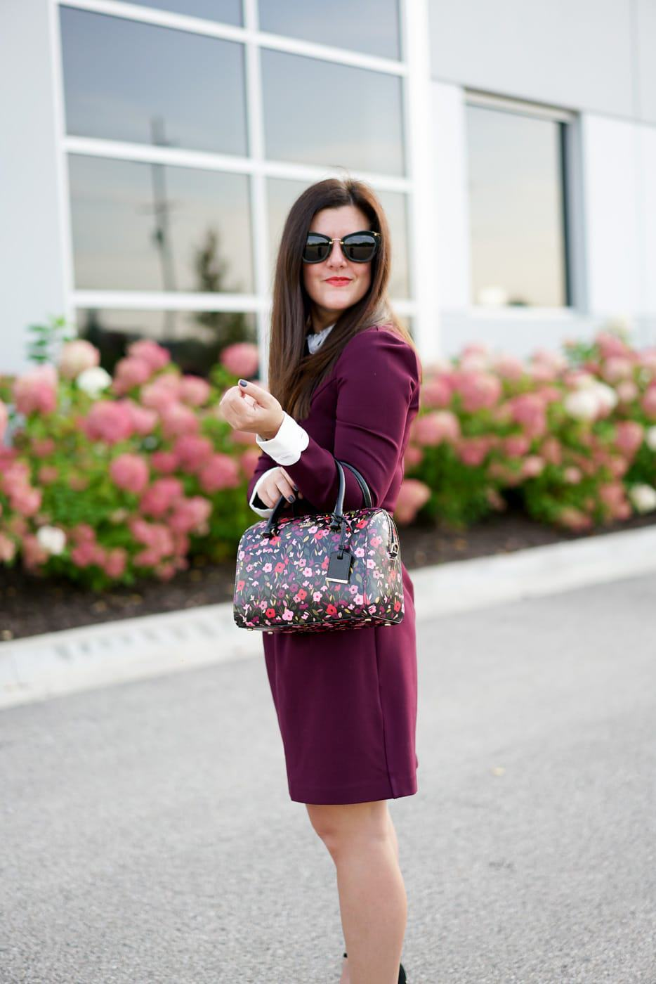 A Lily Love Affair, Chicago Blogger, Fall Style, Office Style, Ted Baker Lace Trimmed Dress, Kate Spade Floral Satchel