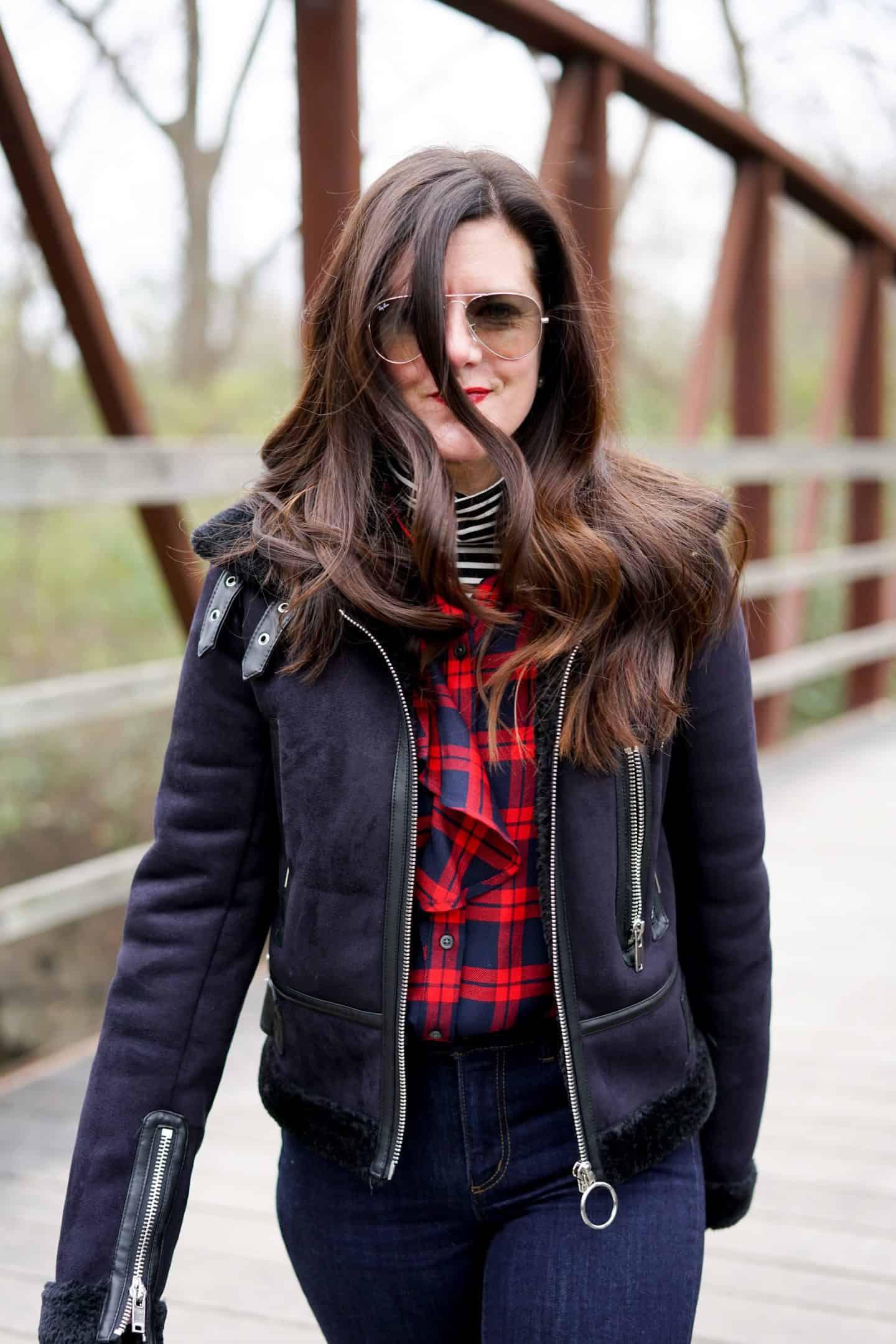 Zara Shearling Coat, Banana Republic Plaid Top, A Lily Love Affair, Ann Taylor Petite Skinny Jeans, Chicago Blogger, 5 things to do this weekend in Chicago, Fall Style
