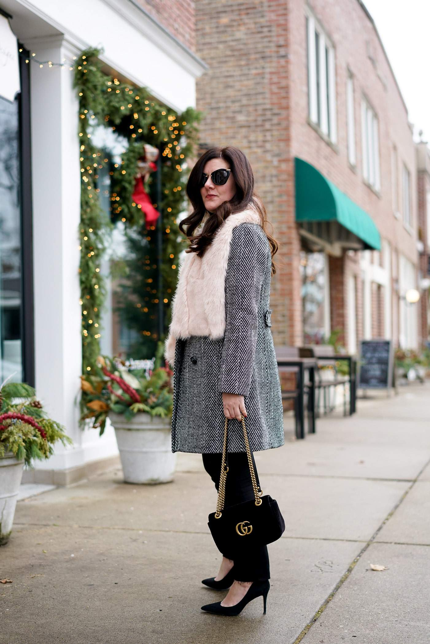 Pink faux fur scarf, Velvet Gucci Handbag, A Lily Love Affair, Winter Style, Chicago Blogger