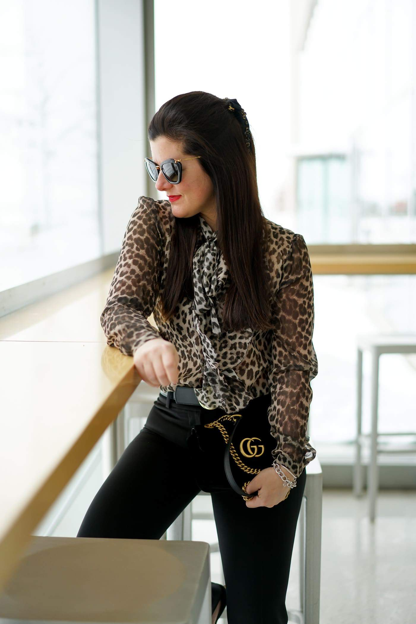 SILKNY LEOPARD BLOUSE, SILKNY faux fur coat, Gucci Marmont bag, Miu Miu sunglasses, Chicago Blogger, A Lily Love Affair