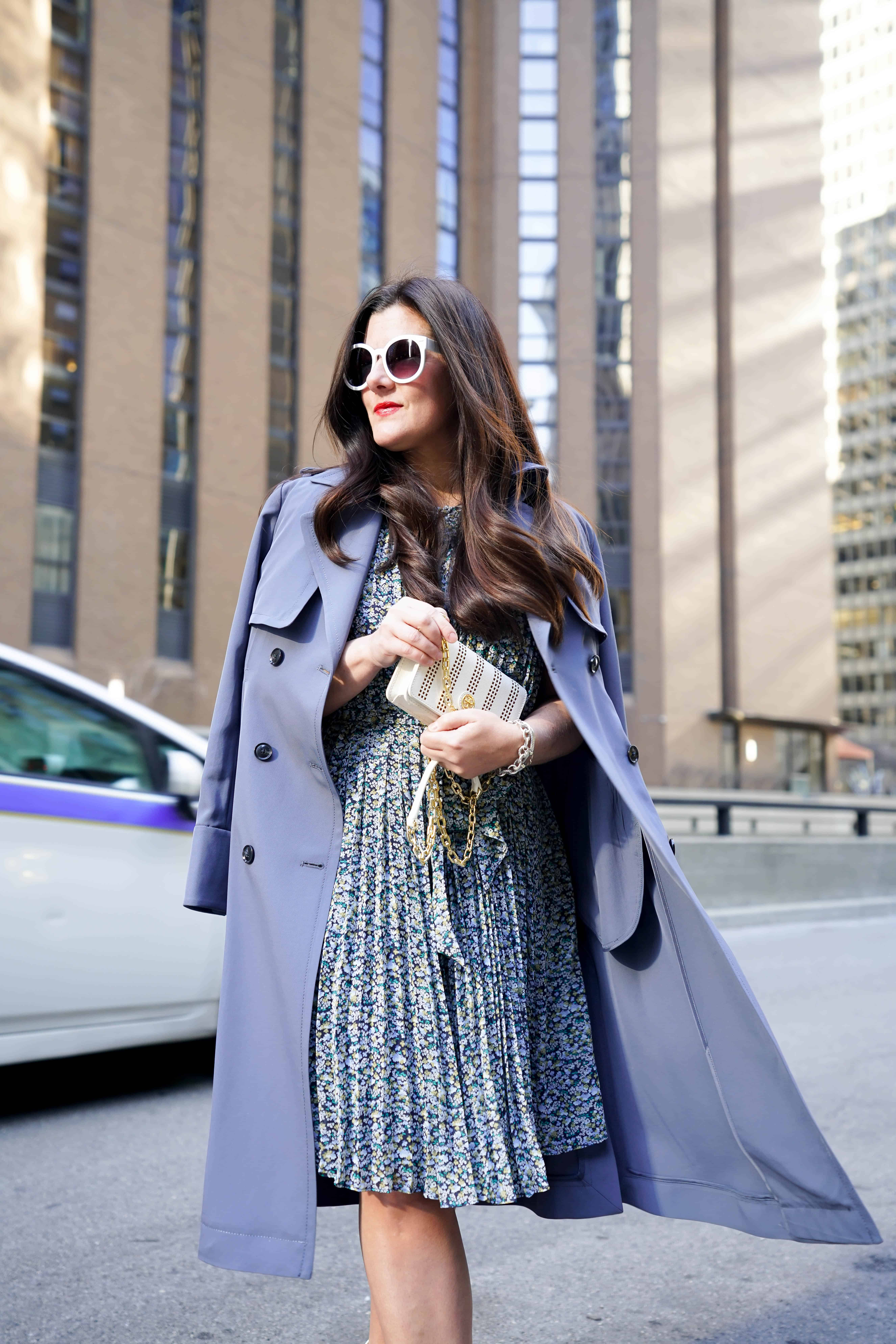 A petite women sharing how to wear a trench coat with a dress