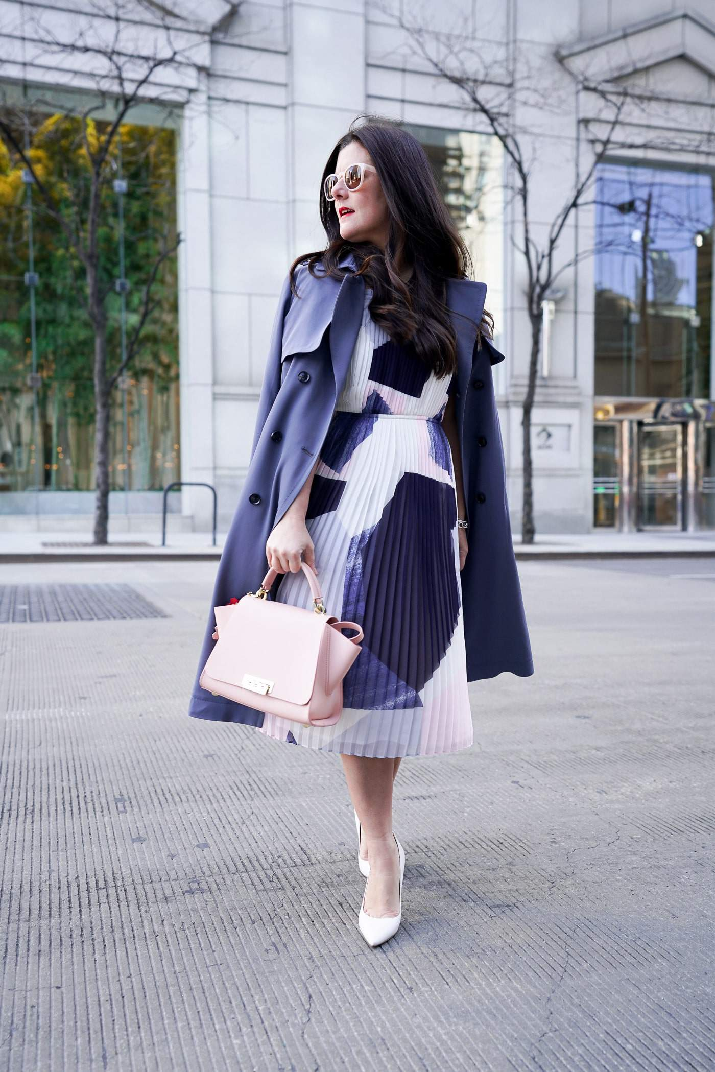 Spring Style, Banana Republic Pleated Dress, blue trench coat, A Lily Love Affair, Chicago Blogger