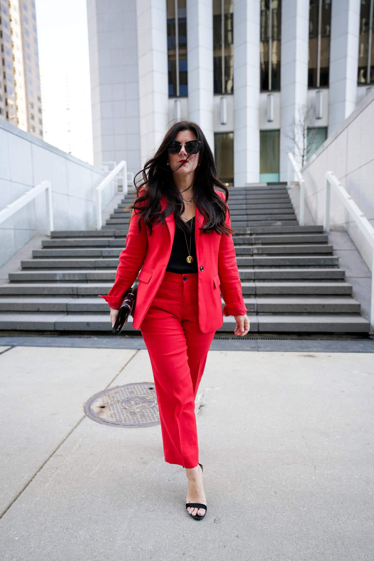 Red power suit, red linen suit, Chicago Blogger, A Lily Love Affair, Office style