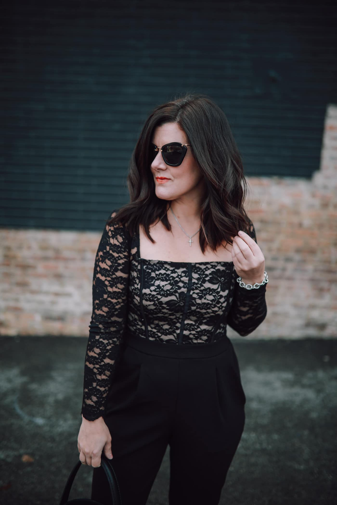 Express Lace Jumpsuit, A Lily Love Affair, Holiday Style, Chicago Blogger