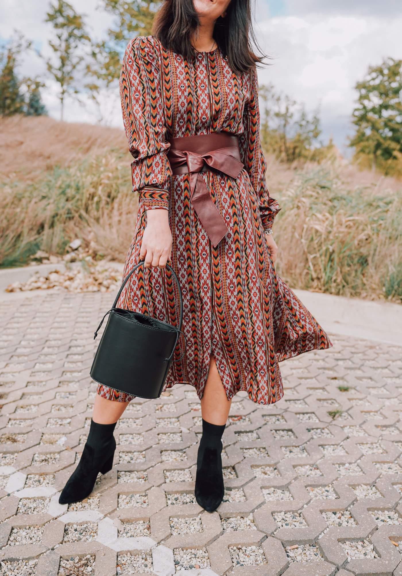 Lafayette 148 New York Silk Midi Dress, A Lily Love Affair, Fall Style, Chicago Blogger
