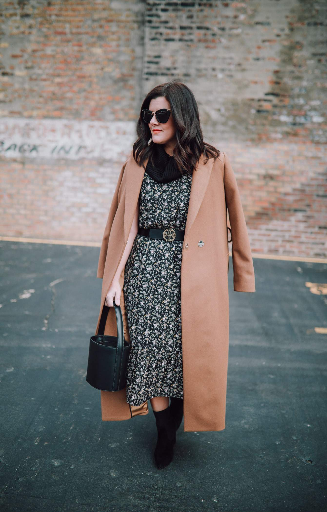 How To Style Your Summer Dress For Winter, Mango Camel Coat, J.Crew Floral Dress, A Lily Love Affair, Chicago Blogger