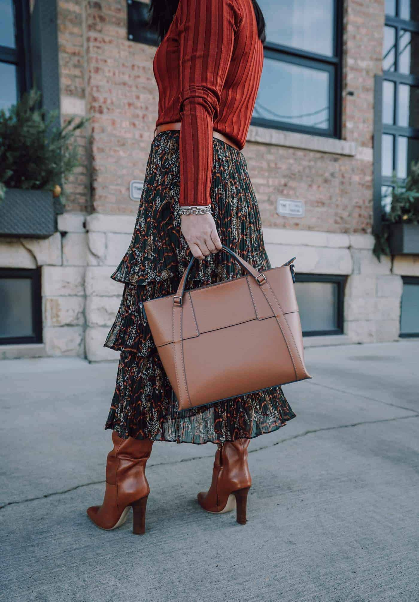 Anthropologie Midi skirt, M.Gemi boots, Armadio Maritime Tote, Mango Sweater, Fall Style, A Lily Love Affair, Chicago Blogger