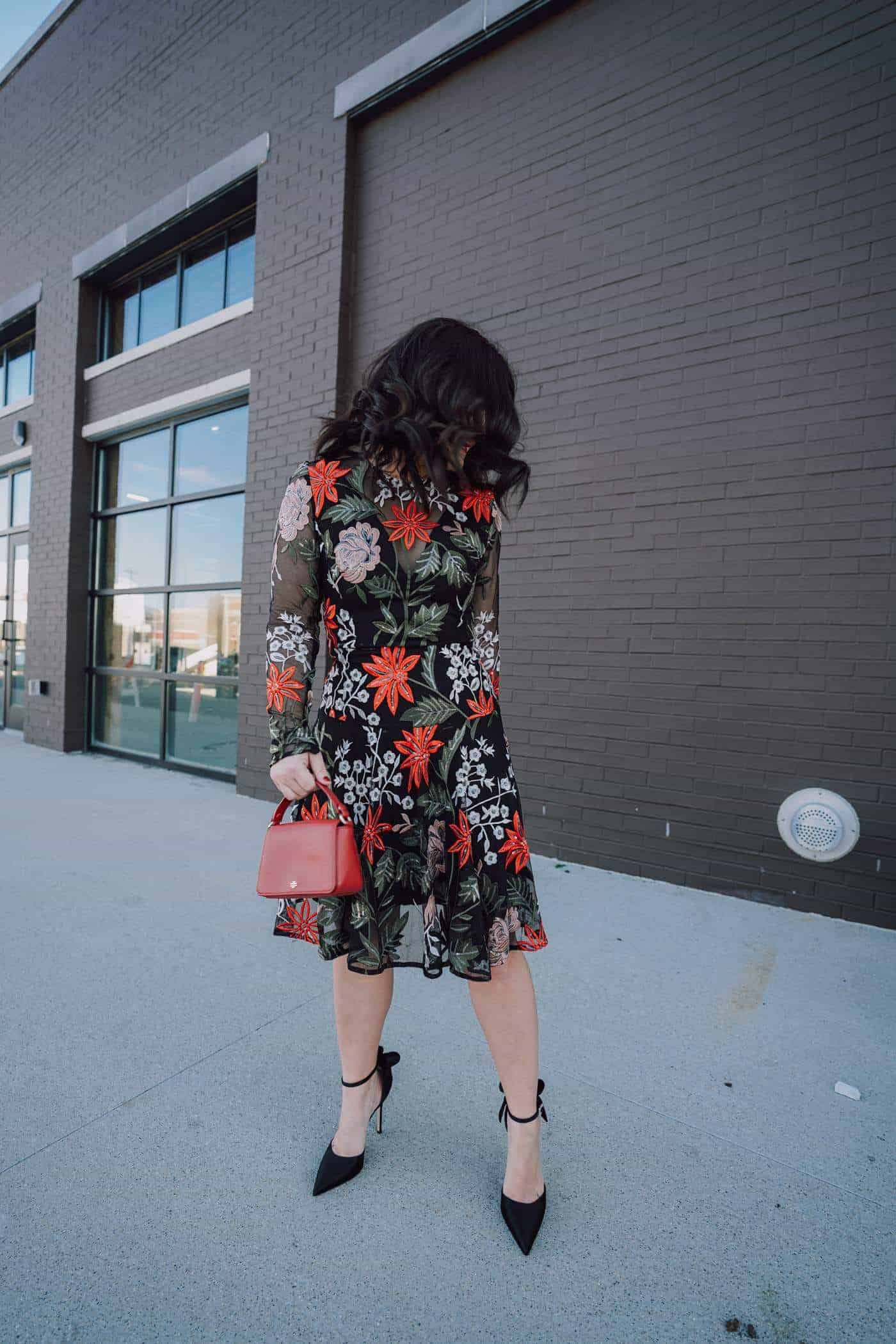 BRONX AND BANCO Bonita Embroidered Fit & Flare , what to wear to a winter wedding, Sarah Jessica Parker Pointy Bow Heels, Winter Fashion, A Lily Love Affair, Chicago Blogger