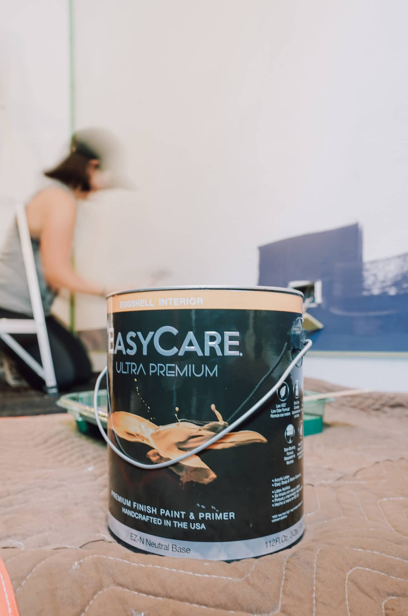 Tackling a great DIY project at home?  Us, too!  Today, we're excited to share this easy, DIY accent wall.  Plus, our honest thoughts with an EasyCare Paint review.