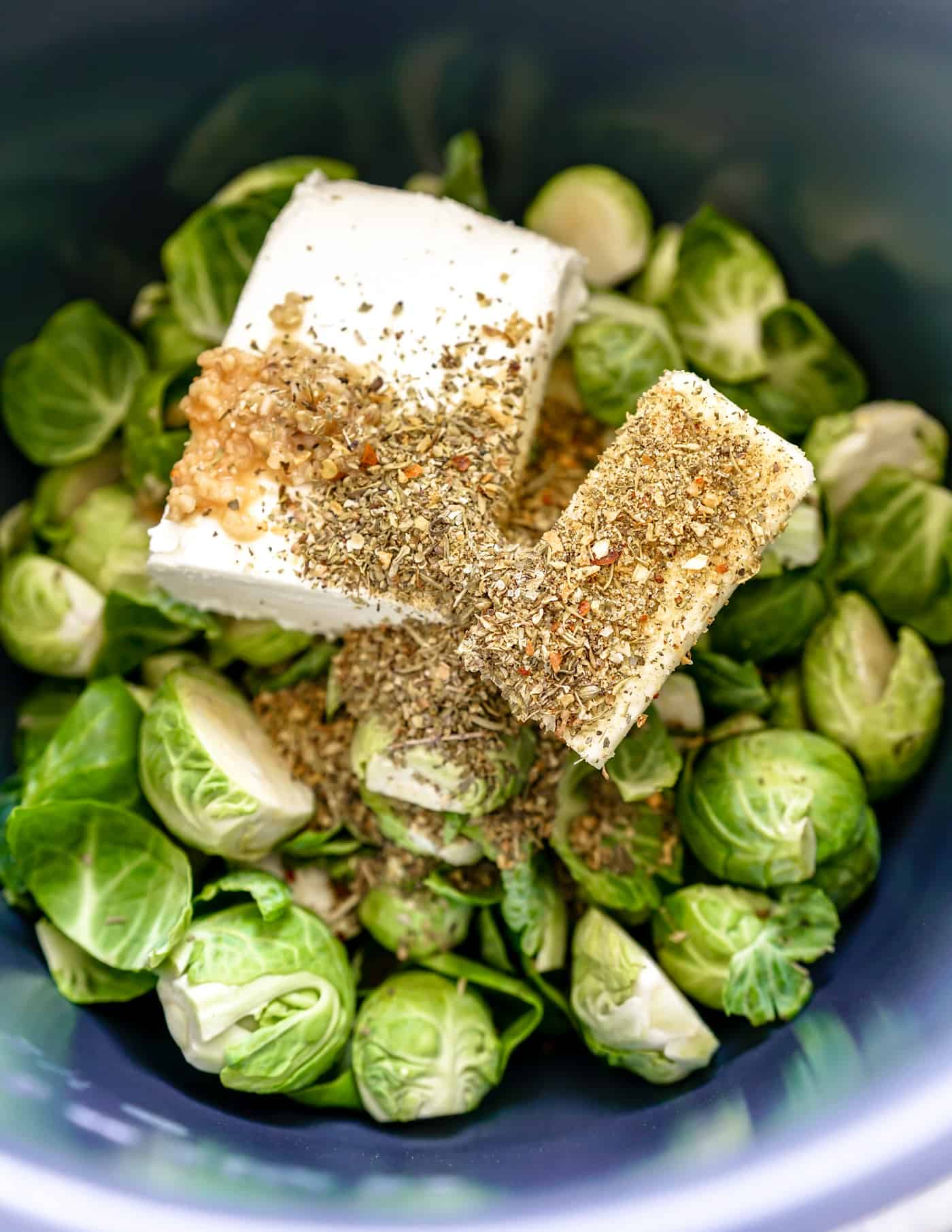Instant Pot brussel sprouts with cream cheese and fresh Italian seasoning