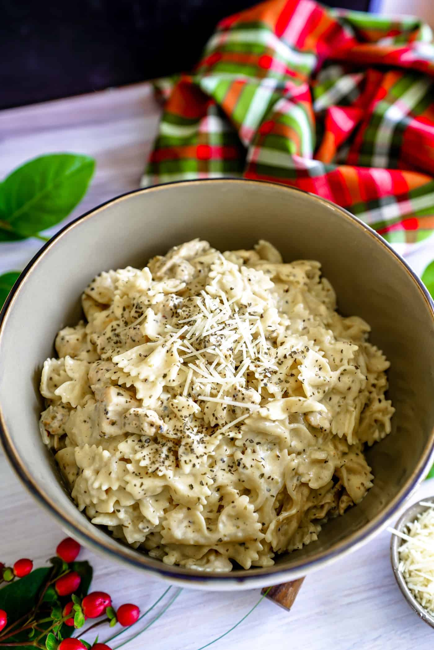 A large bowl of Instant Pot Creamy Chicken Pasta topped with Parmesan Cheese