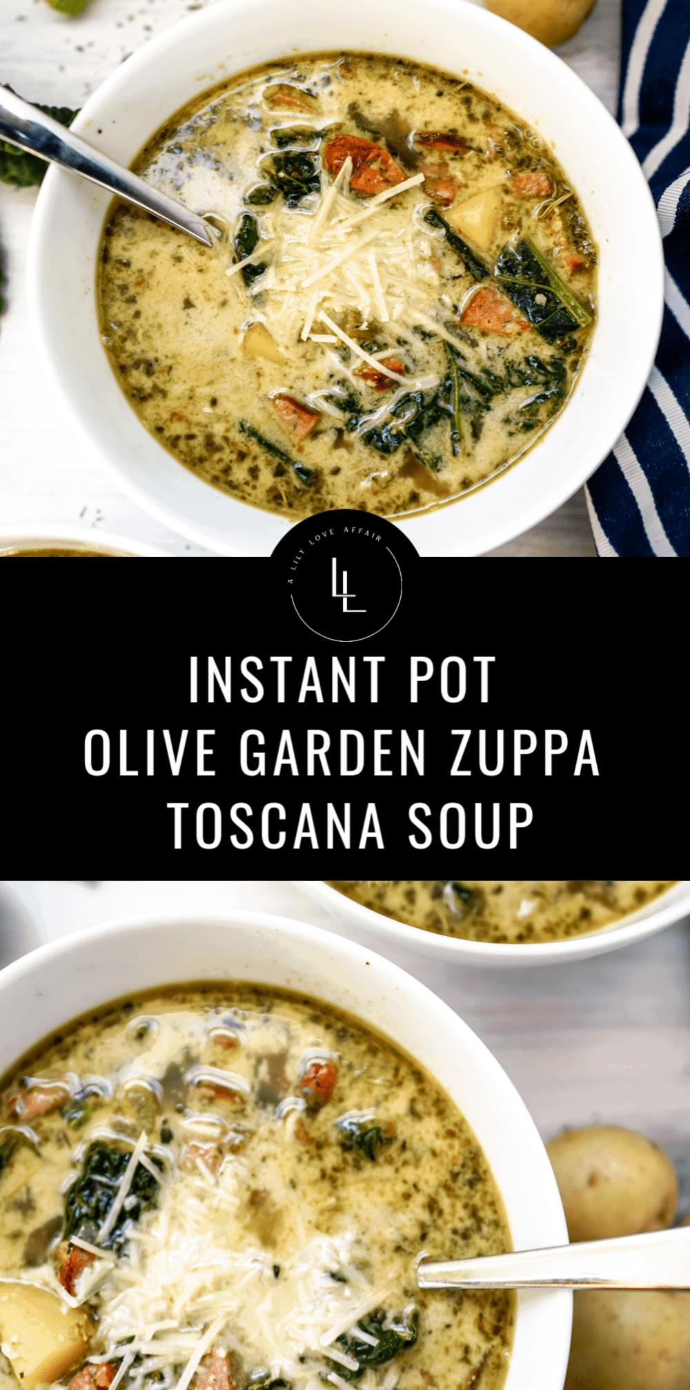 Instant Pot Zuppa Tuscana soup is easy and so flavorful! This Instant Pot soup recipe is filled is hearty ingredients like potatoes, kale, sausage, onions and more! Inspired by the Olive Garden Zuppa Toscana soup, this Instant Pot recipe is sure to be a family dinner favorite!