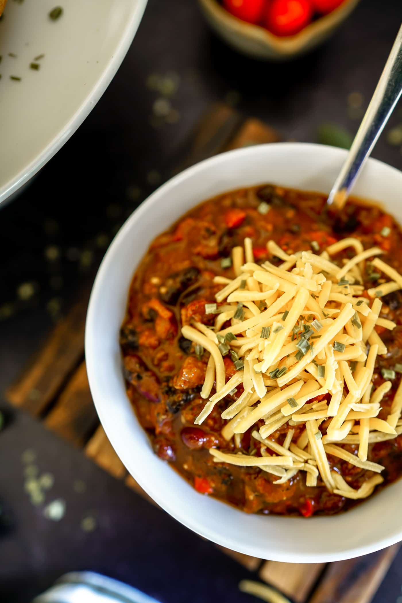 Easy Instant Pot Chili recipe with a side of cornbread