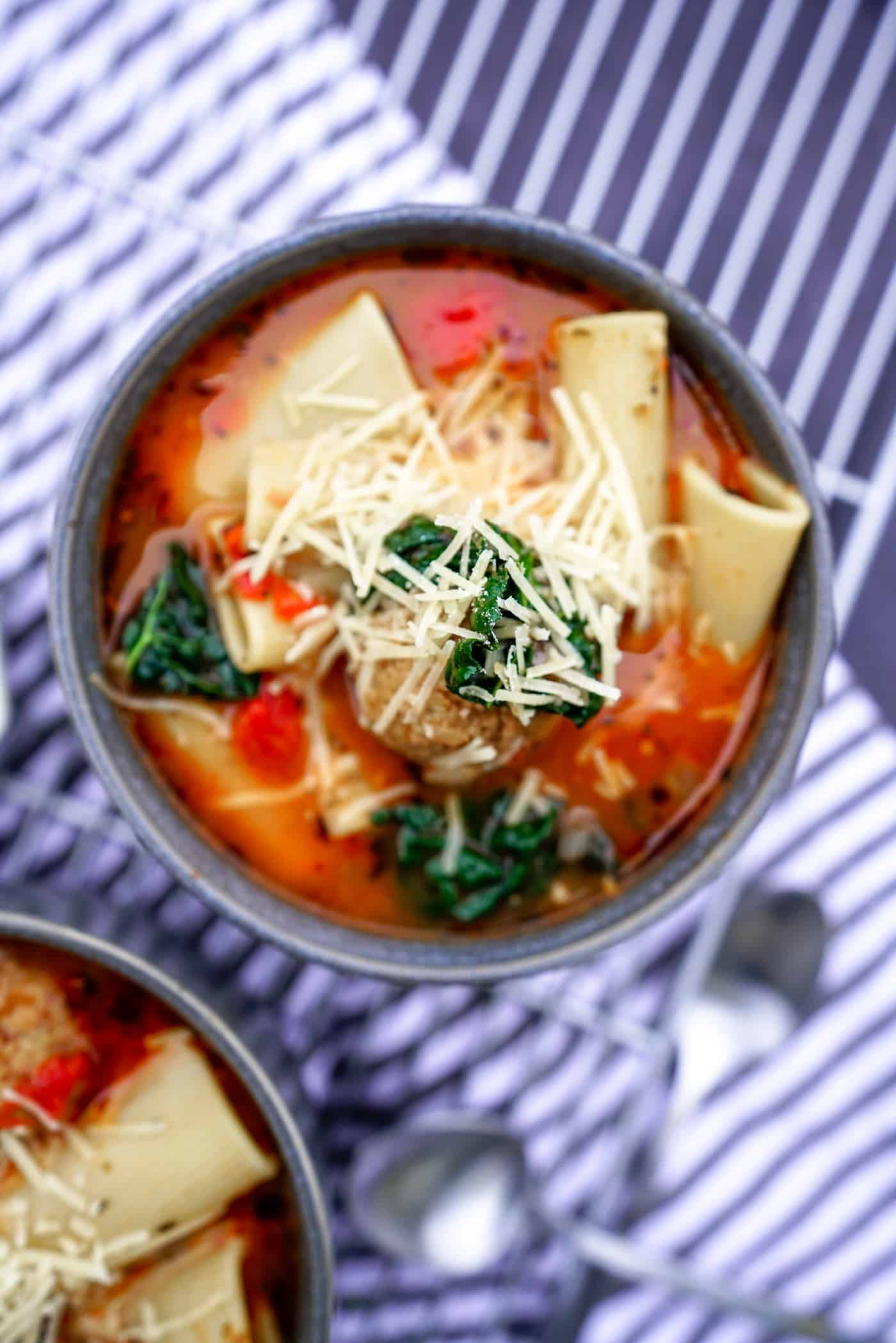Another amazing soup in the Instant Pot! This rigatoni soup is packed with so much flavor, is easy dinner soup recipe and can be made for the meat lovers and vegans alike! Did we mention this Instant Pot rigatoni soup is also keto-friendly meal?