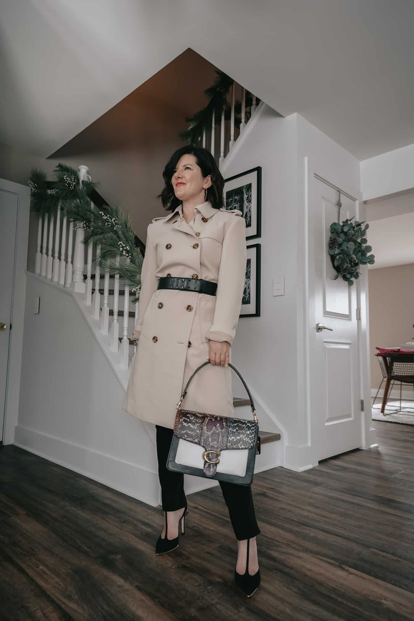 A Lily Love Affair showing you 5 ways to wear womens black pants outfit. Wearing a tan trench coat, coach bag, petite trench coats,, work outfit, petite black pants, fall outfit ideas, what to wear to work, black pants to work, what to wear to work