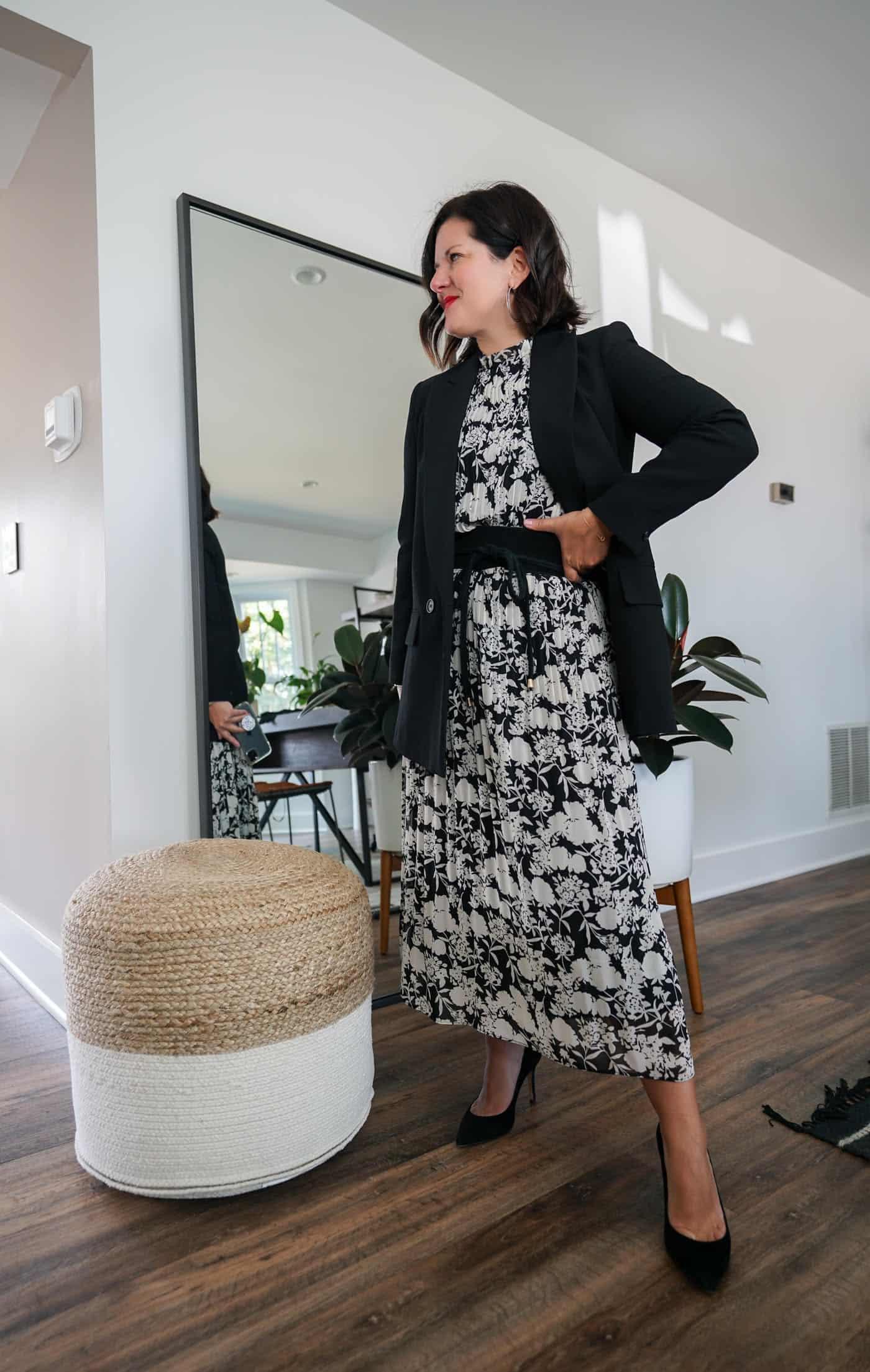 Womens black blazer and a maxi dress