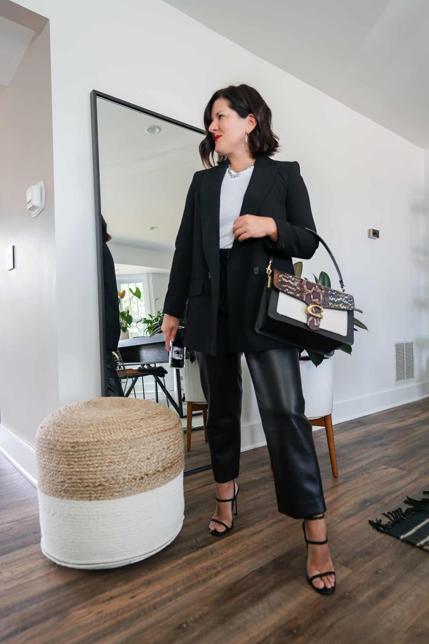 Womens black blazer and leather pants with black heels