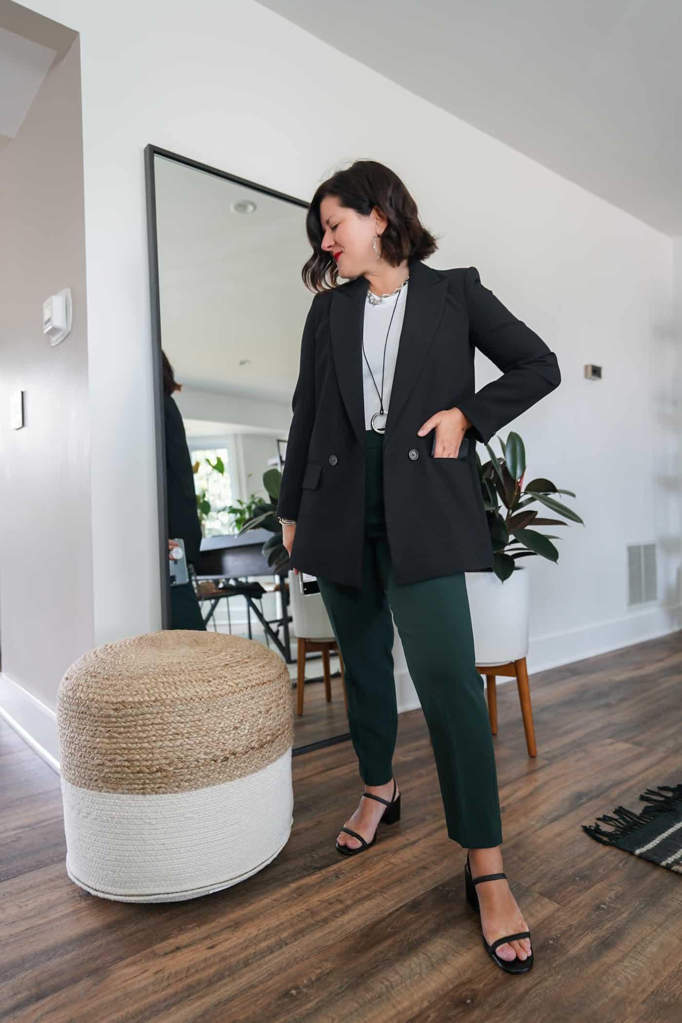 Womens black blazer with green Aritzia pants