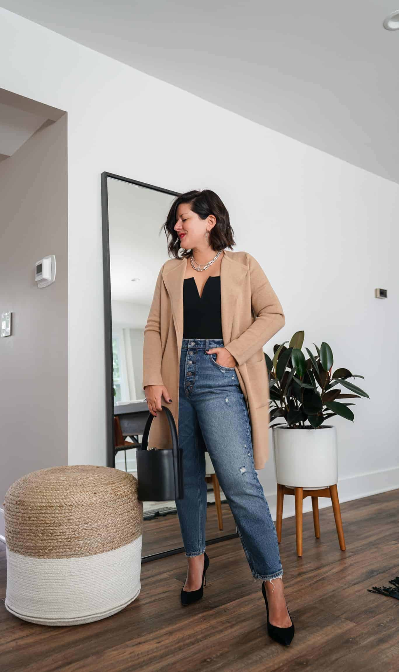 A Lily Love Affair shares how to wear a long cardigan with denim, black tank top and black heels