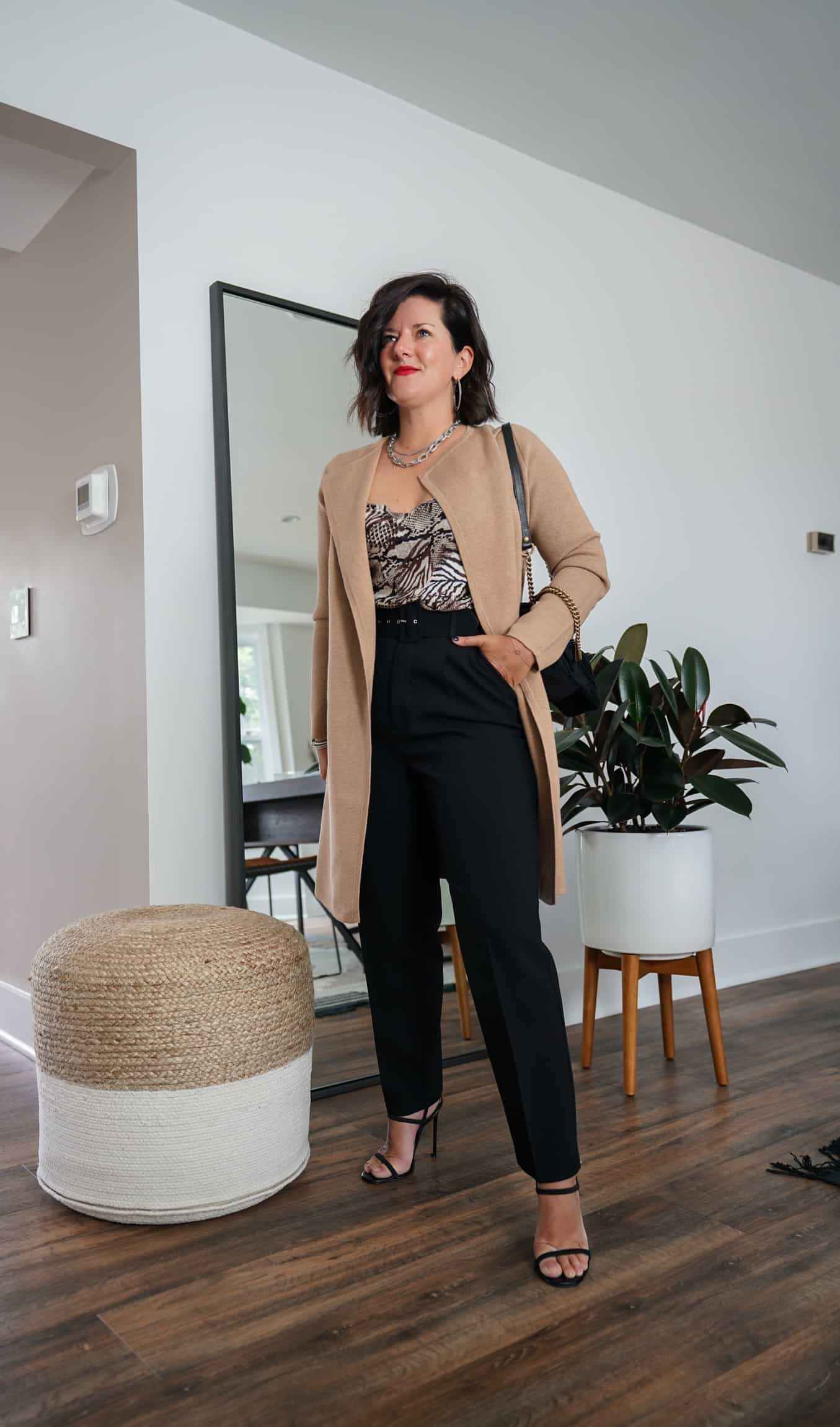 A Lily Love Affair shares how to wear a long cardigan with silk cami and black dress pants