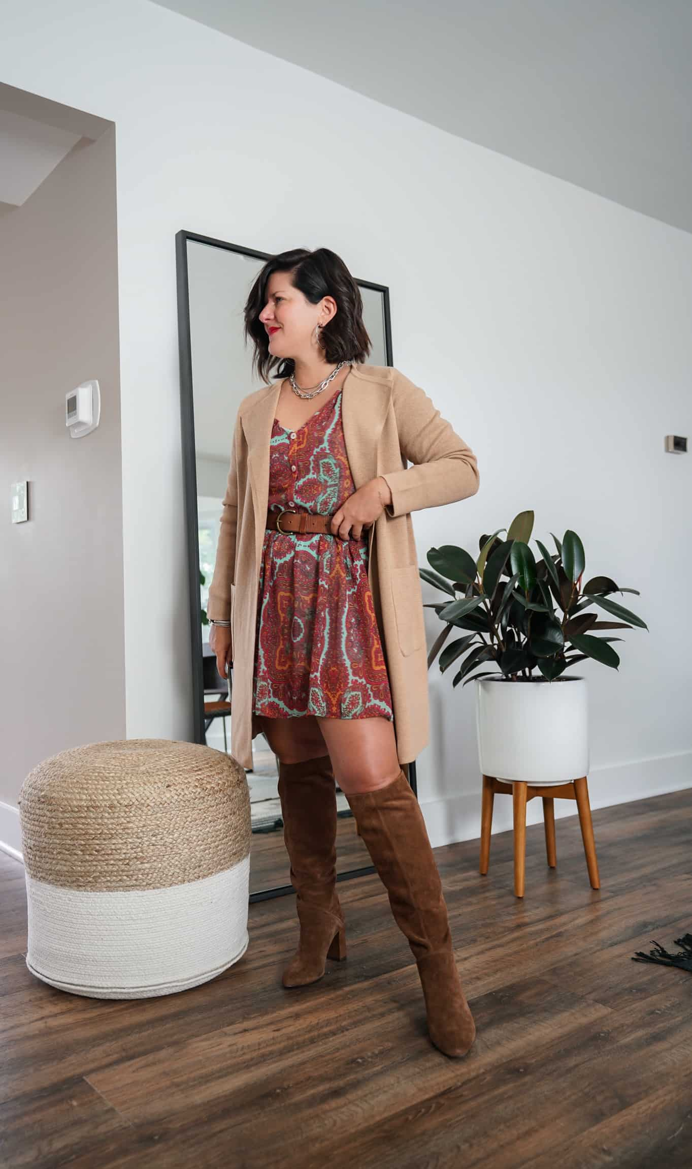 A Lily Love Affair shares how to wear a long cardigan with fall dress and brown knee high boots